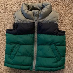 Old navy fleece lined puffer vest 12-18 months
